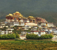 Tibetan monastery during sunset Stock Images