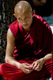 Tibetan Monk. A young Tibetan monk in burgundy robes looking thoughtful royalty free stock images