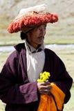 Tibetan monk rnying-mor-pa Arkivfoton