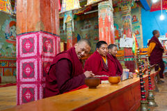 Tibetan monk in temple Royalty Free Stock Photography