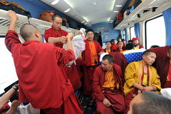 Tibetan monks. Going by train to Lhasa Stock Photo