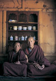 Tibetan monks. Two teenage monks in  the bedroom, in Chamdo,Tibet Royalty Free Stock Photos