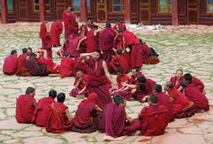 Tibetan monks. Debating monks  in Chamdo,Tibet.Debate is a very important way to  develop the mind in Tibetan Buddhism Royalty Free Stock Photos