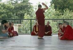 Mcleod Ganj, Dharamsala, India, Tibetan Buddhist Monks Debating at Namgyal Monastery. Tibetan Monks Debate at the Stock Photography