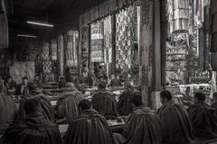 Tibetan Monks - Ganden Monastery - Tibet Stock Photo