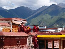 Tibetan monks in Lhasa Royalty Free Stock Photography