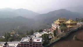 Tibetan Monks near Monastery, Kathmandu valley, Nepal - October 17, 2017. Thrangu Tashi Yangtse Monastery from air: Namo Buddha, Nepal - October 17, 2017 Video stock footage