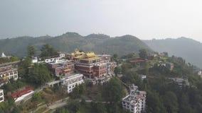 Tibetan monks near Monastery, Kathmandu valley, Nepal - October 17, 2017. Thrangu Tashi Yangtse Monastery from air: Namo Buddha, Nepal - October 17, 2017 Video stock video