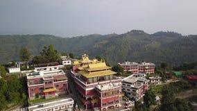 Tibetan Monks near Monastery, Kathmandu valley, Nepal - October 17, 2017. Thrangu Tashi Yangtse Monastery from air: Namo Buddha, Nepal - October 17, 2017 Video stock video footage