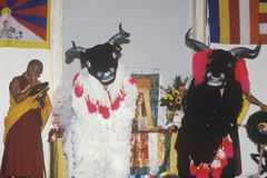 Tibetan Monks performing Snow Lion Dance called Ssang-Geh Gar-Cham at Agape Church in Santa Monica California Stock Photos