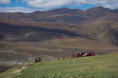 A Tibetan monks sitting on the hill at sunlight in Yarchen Gar. A Tibetan monks sitting on the hill at sunlight in Yarchen Gar, Sichuan, China. Yarchen Gar is Royalty Free Stock Photo