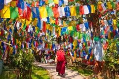 Tibetan munk bland färgrika flaggor Arkivbilder