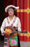 Tibetan musician at a festival Royalty Free Stock Photography