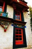 The Tibetan nationality dwelling house. Show the Tibetan nationality dwelling house characteristic Royalty Free Stock Photos