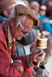 Tibetan nomad in national clothes, India Stock Photography