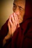 Tibetan nun praying, Dalai Lama temple, McLeod Ganj, India Royalty Free Stock Photos