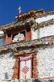 Tibetan old monastery in himalayas mountain in Manang village. Annapurna area, Himalaya, Nepal. Tibetan old monastery in himalayas mountain, Manang village stock photography
