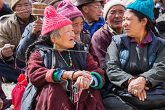 Tibetan old people during mystical mask dancing Tsam mystery dance in time of Yuru Kabgyat Buddhist festival at Lamayuru Gompa, La Royalty Free Stock Photography