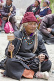 Tibetan old women during mystical mask dancing Tsam mystery dance in time of Yuru Kabgyat Buddhist festival at Lamayuru Gompa, Lad Stock Photography