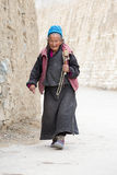 Tibetan old women during mystical mask dancing Tsam mystery dance in time of Yuru Kabgyat Buddhist festival at Lamayuru Gompa, Lad Stock Photo