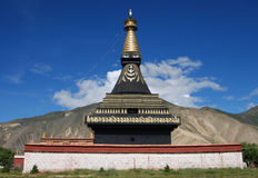 Tibetan pagodas. A black pagoda  in SAMYE KLOSTER. Black pagoda is  very uncommonly in Tibet Stock Photography