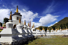 Tibetan-pagodas. These white pagodas are unique to Tibetan Buddhism architecture Royalty Free Stock Photography