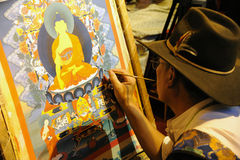 Tibetan painting tangka Stock Images
