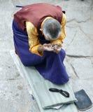 Tibetan pelgrim in Lhasa Royalty-vrije Stock Foto's
