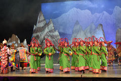 Tibetan people danceing night show, Jiuzhaigou Royalty Free Stock Images