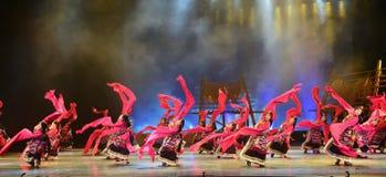 Tibetan people danceing night show, Jiuzhaigou Royalty Free Stock Image