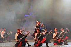 Tibetan people danceing night show, Jiuzhaigou Stock Photos