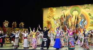 Tibetan people danceing night show, Jiuzhaigou Stock Images