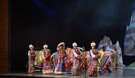 Tibetan people danceing night show, Jiuzhaigou Stock Photography
