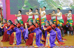 Tibetan people dancing Stock Photo