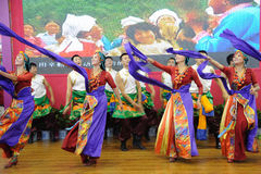 Tibetan people dancing Royalty Free Stock Images