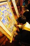 Tibetan people painting tangka Royalty Free Stock Photo