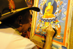 Tibetan people painting tangka Stock Photo