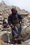 Tibetan pilgrim at Drolma La Pass, Tibet Royalty Free Stock Image