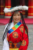 Tibetan pilgrim. At a festival in traditional clothing from Qinghai province Royalty Free Stock Images