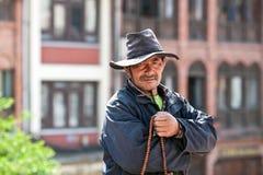 Tibetan pilgrim, Nepal Stock Photos