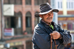 Tibetan pilgrim, Nepal Stock Photo