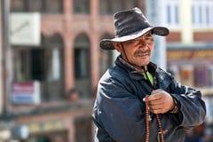 Tibetan pilgrim, Nepal Stock Photo