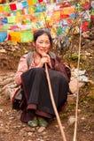 A Tibetan Pilgrim Praying in Yubeng Royalty Free Stock Photography