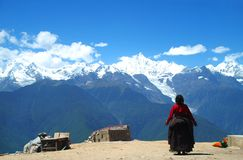 Tibetan pilgrimage Mountain Stock Image