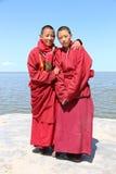 Tibetan pilgrimage at Qinghai Lake in 2015 Stock Images