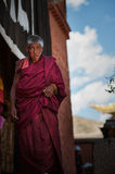 Tibetan pilgrims. Elderly Tibetan pilgrims in China stock photos