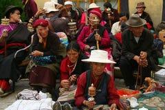 Tibetan pilgrims, Lhasa, Tibet Stock Photo