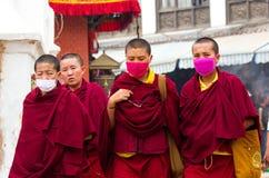 Tibetan pilgrims in Nepal. Stock Photo