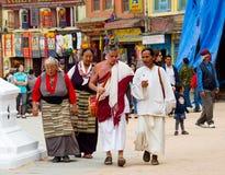 Tibetan pilgrims in Nepal. Royalty Free Stock Images