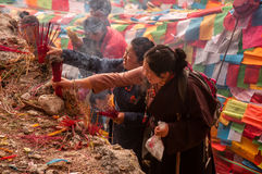 Tibetan Pilgrims in Yubeng Stock Photos
